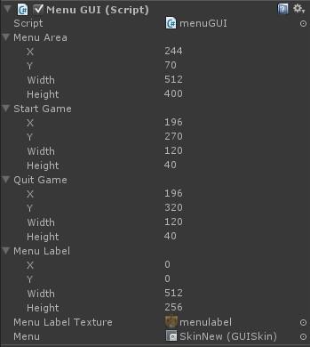 menuGUI (script) properties